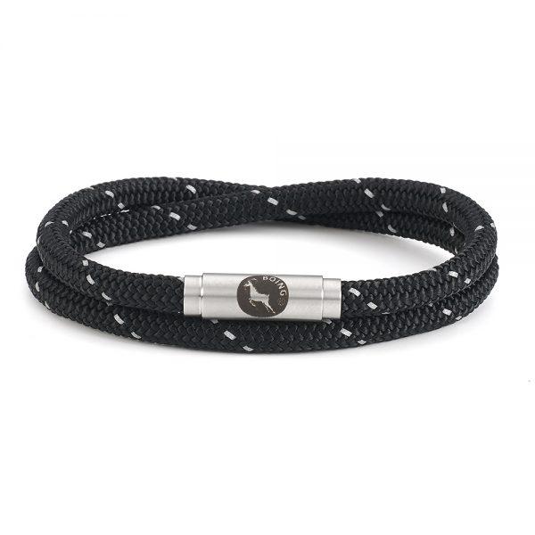 Black Glow Skinny Double Wrap Bracelet XL