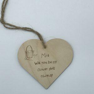 Flower Girl Invitation Wooden Heart