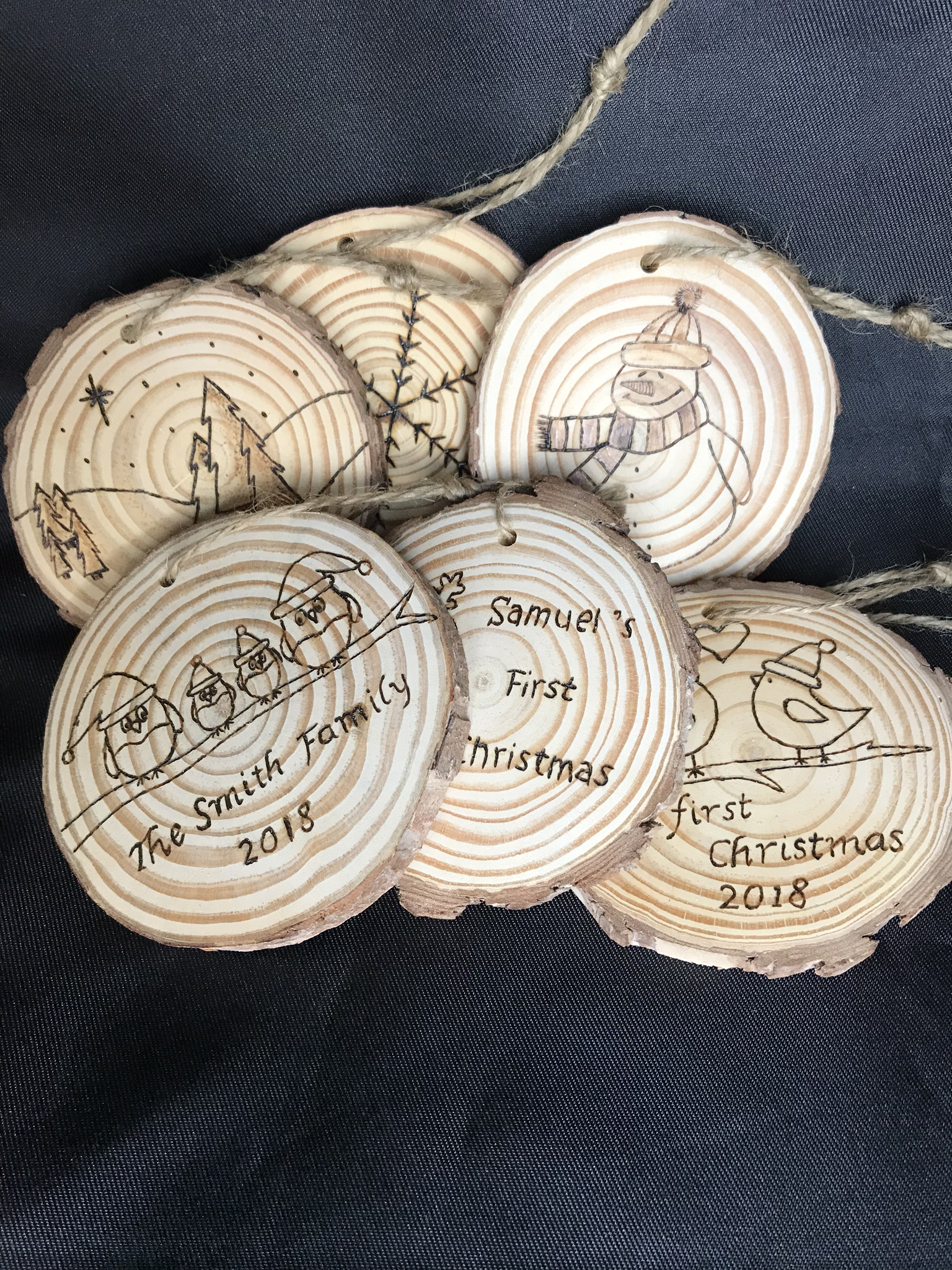 Personalised Rustic Wooden Christmas Tree Decorations