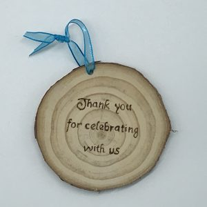 Personalised Wooden Slice Wedding Thank You 7-9cm