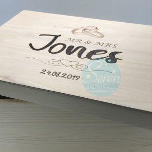 Pine Memory Box Wedding Rings